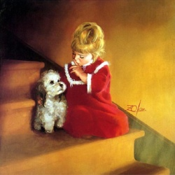 Child with little dog by Donald Zolan, USA